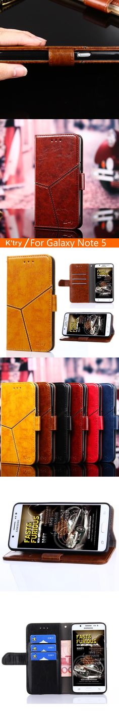 k'try For Samsung Galaxy Note 5 N920 Case Luxury Flip PU Leather Stand Case Book Style Cell Phone Cover For Samsung Galaxy Note5