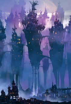 The beautiful digital art of Paul Lasaine The Digital Matte Painting Handbook Fantasy City, Fantasy Places, Fantasy World, Dark Fantasy, Fantasy Art Landscapes, Fantasy Landscape, Landscape Art, Fantasy Concept Art, Fantasy Artwork