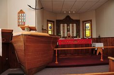 St. John the Evangelist's Church on Manitoulin Island in Canada. The pulpit is made out of old boat.