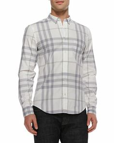 Check Button-Down Shirt, White  by Burberry Brit at Neiman Marcus.