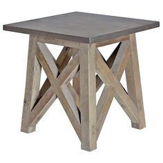 Marx Industrial Loft Elm Wood Zinc Metal Side Table