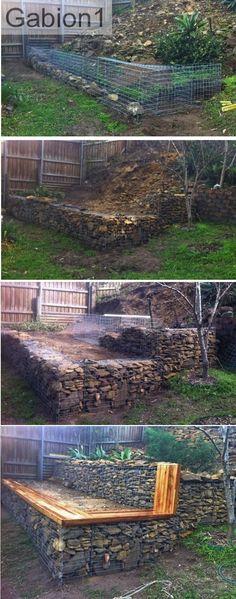 mur de soutènement en gabions de jardin étagé