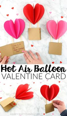 Grab our free template to create this beautiful Hot Air Balloon Card. Great Heart Air Balloon Valentine's Day Card, Mother's Day card for kids to make and hot air balloon Valentine's Day Card. day cards for kids Hot Air Balloon Card Valentines Bricolage, Valentine Crafts For Kids, Valentines Day Activities, Craft Activities, Valentines Day Card Templates, Homemade Valentines, Valentine Cards, Valentine's Day Crafts For Kids, Mothers Day Crafts