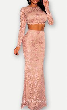 $44.99 Apricot Lace Open Back Long Sleeves Maxi Skirt Set - Stella La Moda