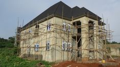"""The Making Of The """"Akure 5 Bedroom Duplex"""" - Properties (10) - Nigeria Duplex House Plans, House Layout Plans, House Layouts, Duplex House Design, House Front Design, Beautiful House Plans, Beautiful Homes, High Ceiling Living Room, House Design Pictures"""