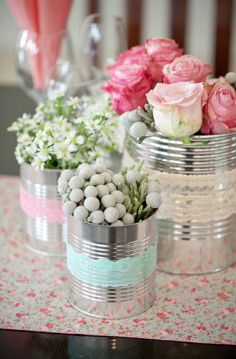 Aluminum cans turned into flower vases