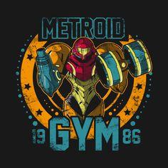 Shop Metroid Gym samus t-shirts designed by Soulkr as well as other samus merchandise at TeePublic. Metroid Samus, Samus Aran, Gym And Tonic, Zero Suit Samus, Super Metroid, Gaming Posters, Gym Logo, Cool Robots, Gym Decor
