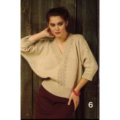 Knitting : Vintage Ladies Tops Pullovers Vests Dolman Sweater Knit Crochet Patterns
