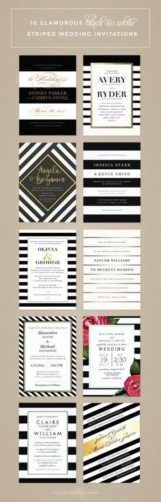 Glamorous black and white striped wedding invitations featuring designs from…