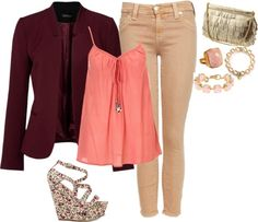 """""""peach outfit"""" by zippy7flaca on Polyvore"""