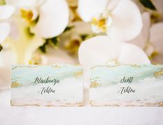 Creative Escort Card Displays | Ocean Colors | White Orchards | https://www.absolutelyloved.com