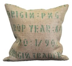 Handmade pillows crafted from original coffee bags from around the world-lots of very different looks #pillows #accessories #rustic