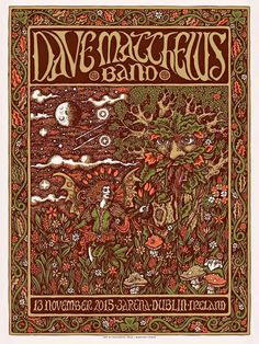 DMB final show in Dublin, Ireland. Dave Matthews Band Posters, Concert Posters, Music Posters, Tour Posters, Art Music, Art Boards, Illustrations Posters, Good Music, Album Covers