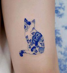 Mini Tattoos, Little Tattoos, Body Art Tattoos, Small Tattoos, Blue Ink Tattoos, Black Cat Tattoos, Tattoo Ink, Pretty Tattoos, Cool Tattoos