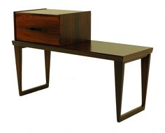 LookModern (Portland) - Danish modern rosewood phone bench designed by Aksel Kjersgaard. Removable two drawer unit sits on bench, which alone measures 34.75″ w x 13.5″ d x 23.25″ h.  $1,395.