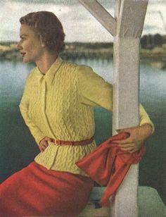 Sunshine Cardigan • 1940s Knitting Knit Top Sweater Jumper • 40s Vogue Vintage Pattern • Retro Women's Knit Digital PDF