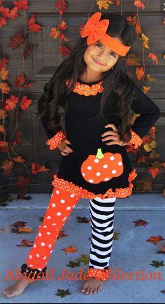 Halloween Pumpkin Ruffle Polka Dot Stripe by AbigailJadeBoutique