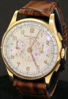 Baume & Mercier vintage 18K gold 37.5mm chronograph mechanical men's watch