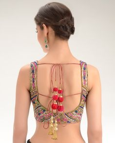 Magenta Brocade Sleeveless Blouse with Embellishments - Exclusively In