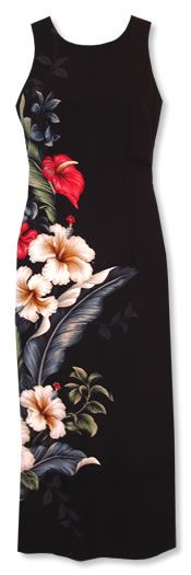 sweetheart black hawaiian formal tank dress :: Long Floral Dress :: Hawaiian Dress :: Women :: Lavahut