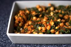 {MADE}Spinach and Chickpeas - 1/2 of recipe, omitted tomatoes, used frozen spinach (less than 2 cups), 19 oz can chickpeas