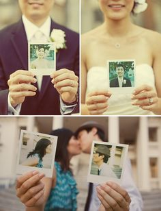 "polaroid wedding ideas--would be fun to rent a polaroid camera for the wedding day to ""recreate"" a small photo booth for people to do silly photos!"