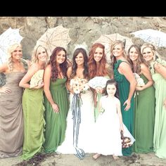 Victorian Inspired Beach Wedding - The thing I love about this is not the victorian part but the colors of the bridesmaid dresses remind me of the ocean