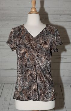 Britney Black M, Medium Knotted V Neck Short Sleeve Tunic Blouse Top Shirt Loose #BritneyBlack #Blouse #Casual