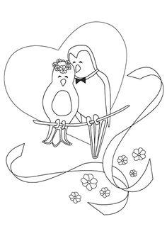 Un mignon couple d'oiseaux très amoureux et entouré de cœur, à colorier