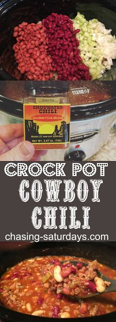 Crock Pot Cowboy Chili is for the hard working cowboys who work up an appetite for a hearty meal! My youngest kid loves to dress . Slow Cooker Chili, Slow Cooker Recipes, Cooking Recipes, Crockpot Meals, Cooking A Roast, Crock Pot Cooking, Ground Pork Sausage Recipes, Cowboy Chili Recipe, Crock Pot Soup