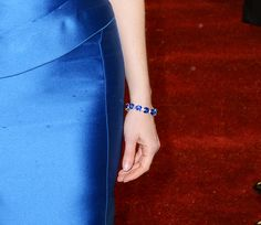 A close-up of the Harry Winston sapphire and diamond bracelet worn by Jessica Chastain at the 2013 BAFTAs.