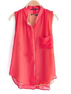 Red High Neck Sleeveless Loose Chiffon Shirt