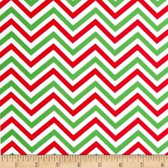 Holiday Table Runner in Red, White & Green Chevron