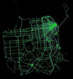 Time within each minute that Muni buses are typically reported at each location by Eric Fischer, via Flickr