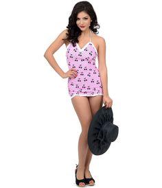 UniqueVintage  1950s Style Pink & White Stripe Black Cherries Halter Swimdress