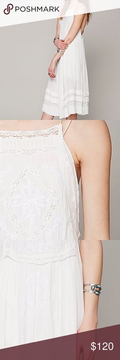 RARE FREE PEOPLE DIAMOND IN THE SKY DRESS WHITE Embroidered dress with crochet detailing throughout. Thin straps. Lined. Care/Import 100% Rayon Lining: 100% Cotton Hand Wash Cold Import Measurements Bust: 27 in Length: 41 in Free People Dresses Midi