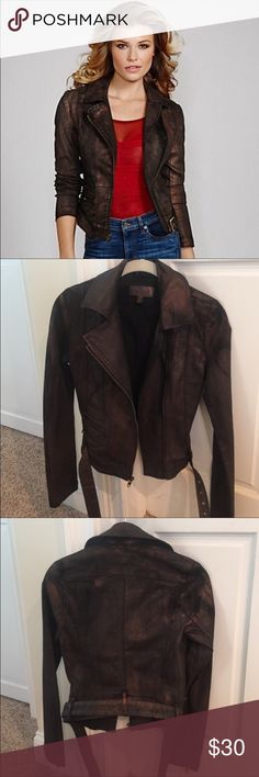 Guess jacket Adorable brown Moto jacket, worn a time or two but no damage. 💕 it's been in storage pretty much since purchase. Looks super badass but also girly, just not quite my style!! Guess Jackets & Coats