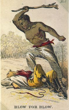 CARD DEPICTING REBELLIOUS SLAVE  Blow for blow / Henry Louis Stephens. Image date: 1863. Card showing African-American slave with club standing over body of a white man holding whip. Part of a series of collecting cards depicting the plight of the slave.