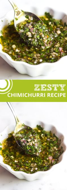Zesty, Green Chimichurri Sauce -- made with fresh herbs, garlic, vinegar and olive oil that livens pretty much anything you throw at it   @inspiredtaste inspiredtaste.net