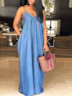 Dark blue pockets draped spaghetti strap plus size v-neck casual denim maxi dress - maxi dresses - dresses Trend Fashion, Blue Fashion, Denim Fashion, Fashion Outfits, Womens Fashion, Fashion 2020, Style Fashion, Feminine Fashion, Fashion Ideas