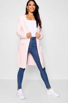 Womens Oversized Boyfriend Cardigan - pink - M/L Cardigan Style, Winter Cardigan Outfit, Cardigan Design, Cardigan Outfits, Pink Cardigan, Cardigan Fashion, Casual Skirt Outfits, Winter Outfits, Cute Outfits
