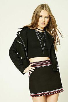 Embroidered Twill Mini Skirt