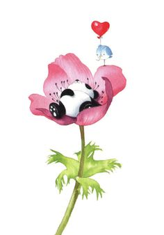 Leading Illustration & Publishing Agency based in London, New York & Marbella. Sleeping Panda, Sleeping Animals, Panda Wallpapers, Cute Wallpapers, Cute Animal Drawings, Cute Drawings, Cute Images, Cute Pictures, Cute Panda Wallpaper