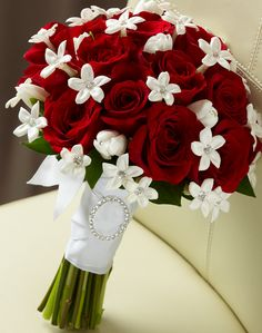 Red rose bouquet, would do with grey ribbon instead of white