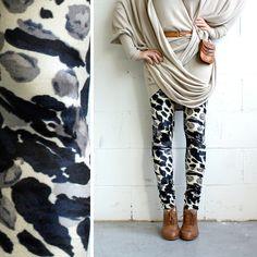 Stretch Velvet Leggings - Navy, Cream and Grey Abstract - size L - LAST PAIR. $49.00, via Etsy.