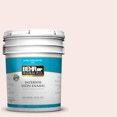BEHR Premium Plus 5-gal. #200C-1 Hush Pink Zero VOC Satin Enamel Interior Paint