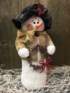 "Collectible Snowman Handmade Vintage White Chenille 17"" Fabric Snowmen"