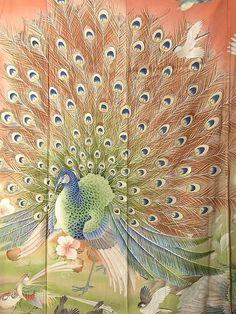 Supreme Taisho Furisode Details(1) Beautiful Artwork, Beautiful Birds, Peacock Shower Curtain, Luna Guitars, Peacock Art, Japanese Textiles, Feather Design, Yukata, How To Dye Fabric