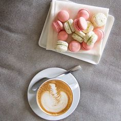 Deliciously dainty home-made macaroons and frothy cappuccino @45parklane