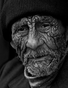 Yuri Bonder. Old man, a map of Life, lines of Life, beauty, powerful face, beard, intense, portrait, photo b/w.
